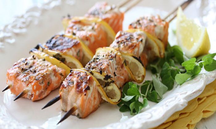 Grilled Salmon kebabs 7x5