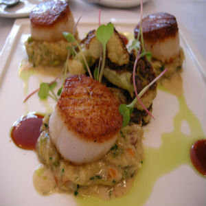 Soy Lime grilled scallops and leaks