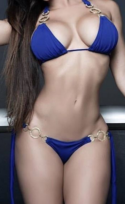 Beautiful shapely girl in bikini lost cellulite