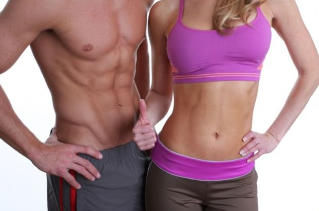 Male and Female showing fit mid section in athletic ware