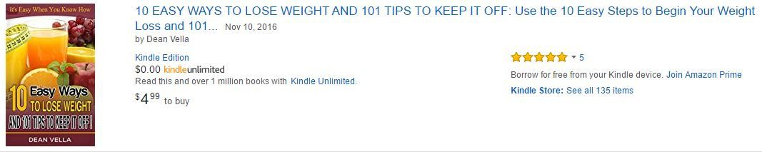 Amazon listing of the book 10 Easy Ways to Lose Weight and 101 Tips to Keep it Off