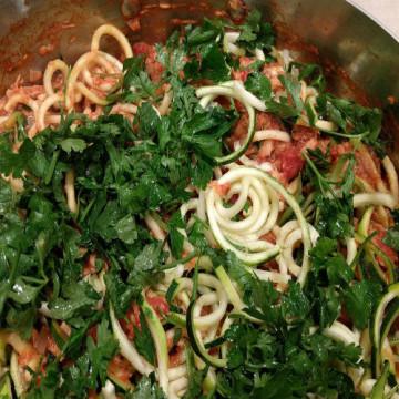 Keto dish of zuchini pasta